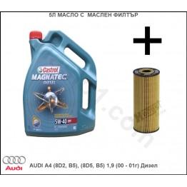5л Масло с Маслен филтър за AUDI A4 (8D2, B5), (8D5, B5) 1,9 (00 - 01г) Дизел