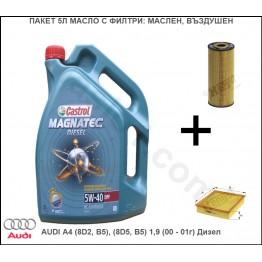 Пакет 5Л Масло с Филтри за AUDI A4 (8D2, B5), (8D5, B5) 1,9 (00 - 01г) Дизел