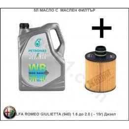 5л Масло с Маслен филтър за ALFA ROMEO GIULIETTA (940) 1.6 до 2.0 ( - 15г) Дизел