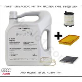 Пакет 10Л Масло с Филтри за AUDI модели: Q7 (4L) 4,2 (06 - 10г)