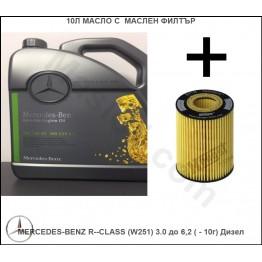 10л Масло с Маслен филтър за MERCEDES-BENZ R-CLASS (W251) 3.0 до 6,2 ( - 10г) Дизел
